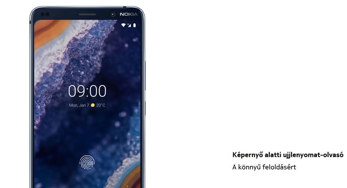 Nokia 9 Pureview - Ujjlenyomatolvasó
