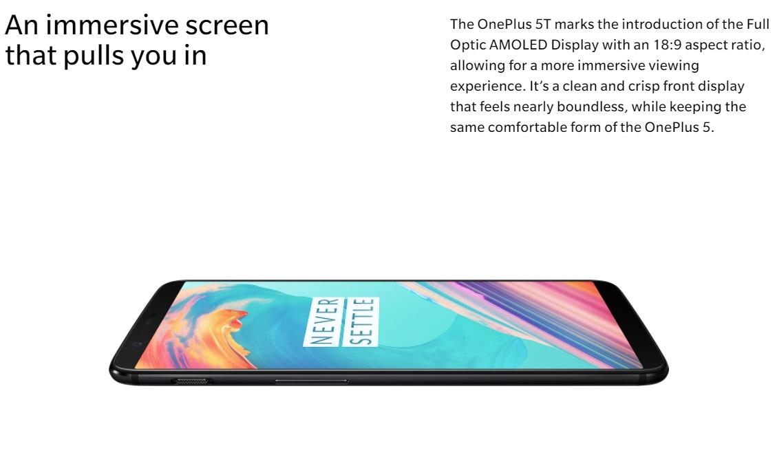 OnePlus 5T képernyő