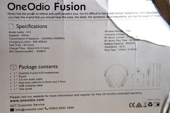 OneOdio A70 - Doboz 2