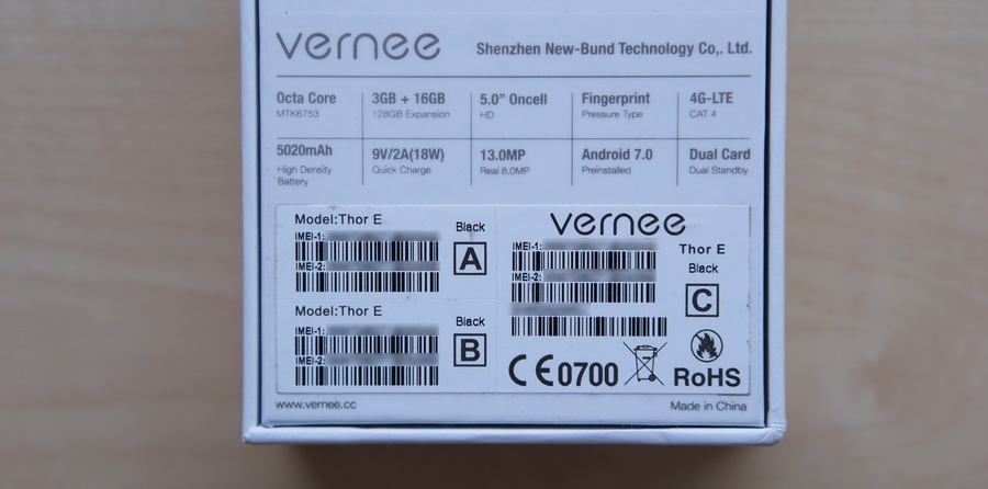 Vernee Thor E doboz hátulja