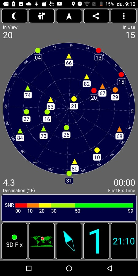 Vernee X GPS műholdak
